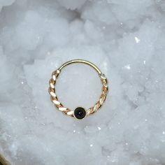 2mm Onyx Septum anneau anneau de nez or par ModernJewelBoutique