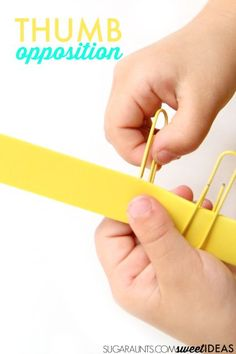 Thumb opposition activity for fine motor skills needed in pencil grasp, buttoning, shoe tying, and zippers.