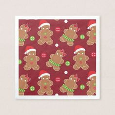 Christmas gingerbread cookie party paper napkins