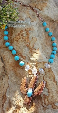COWGIRL Bling  CRAZY ABOUT CACTUS Western COPPER TONE Boho Gypsy NECKLACE…