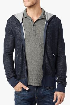 7 For All Mankind Double Knit Hoodie In Night Navy