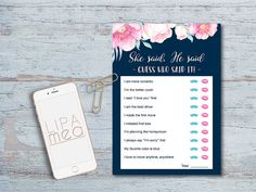 He said She said Game, Printable Floral Bridal Shower Games, Navy and Pink Bridal Shower Ideas, Boho Bridal Shower, Bridal Party Activities. Matching games, signs and invitations at: lipamea.etsy.com