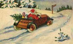 Vintage Christmas Card ~ Off goes Santa in a Car!