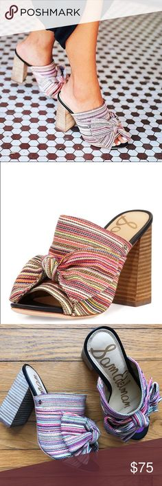 """SAM EDELMAN • yumi rainbow striped mules 🌈 Super cute peep toe mules with stacked block heel and oversized bow detail. The rainbow colored stripes make these a playful statement piece for your summer wardrobe! Lightly padded footbed with a 4.25"""" heel.  • New without box. They were tried on but never worn; there are two nicks on the bottom right sole. • Pet-friendly, smoke-free home. Sam Edelman Shoes Mules & Clogs"""