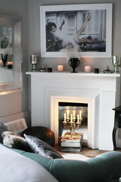 Fake Fireplace with Mirror