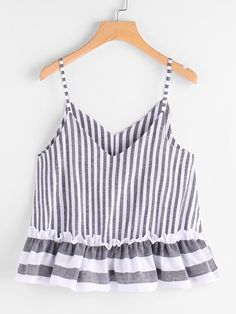 To find out about the Contrast Striped Frill Hem Cami Top at SHEIN, part of our latest Tank Tops & Camis ready to shop online today! Casual Skirt Outfits, Cute Outfits, Summer Outfits, Plus Size Tank Tops, Crop Tops, Women's Tops, Striped Cami Tops, Diy Vetement, Girl Fashion