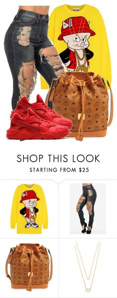 """Get the Dom Pérignon.Told em' gon Carry on."" by bria-myell ❤ liked on Polyvore featuring Moschino, MCM, NIKE and Gorjana"