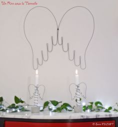 Candle Holder & Bud Vase - Angel Wings - Wire & Waxed Concrete - Christmas New Year ornament by UnRiresouslaTonnelle, €24,00 apiece