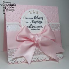 Posh Tots Baptism Inspiration by angelladcrockett - Cards and Paper Crafts at Splitcoaststampers Confirmation Cards, Baptism Cards, Baptism Verses, Christening Card, Christening Headband, Baby Girl Cards, New Baby Cards, Première Communion, Baby Girl Baptism