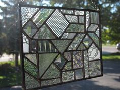 Clear Attraction geometric abstract stained glass panel