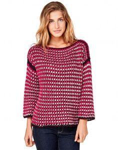 Sweater with 3/4 sleeves Fuchsia - Women | Benetton