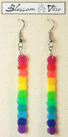Rainbow Perler Earrings... could make a similar friendship stick swap.