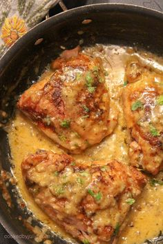 Creamy smothered chicken thighs cooked long and slow. You may use chicken breast. Creamy smothered chicken thighs cooked long and slow. You may use chicken breasts or chicken thighs Chicken Thigh Seasoning, Crockpot Chicken Thighs, Boneless Chicken Thighs, Oven Baked Chicken Thighs, Cooking Chicken Thighs, Gourmet Recipes, Crockpot Recipes, Dinner Recipes, Cooking Recipes