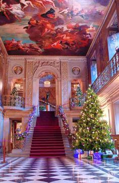 Christmas at Chatsworth, the stair hall ceiling is fab