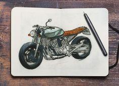 Honda Hornet cb600 caferacer sketch