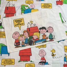 Vintage 1971 Peanuts Gang Twin Flat Sheet Pillowcase Snoopy Happiness Is | eBay