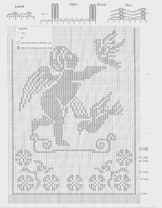 Professione Donna: Schemi per il filet: Tendine con amorini Crochet Curtain Pattern, Crochet Angel Pattern, Crochet Angels, Crochet Birds, Crochet Curtains, Lace Patterns, Embroidery Patterns, Cross Stitch Patterns, Crochet Patterns