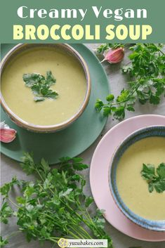 Delicious vegan Broccoli Soup served in two bowls Vegan Lunches, Vegan Snacks, Vegan Meals, Delicious Vegan Recipes, Vegetarian Recipes, Yummy Food, Soup Recipes, Cooking Recipes, Dinner Recipes