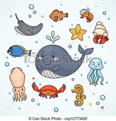 Vector - Cute sealife - stock illustration, royalty free illustrations, stock clip art icon, stock clipart icons, logo, line art, EPS picture, pictures, graphic, graphics, drawing, drawings, vector image, artwork, EPS vector art