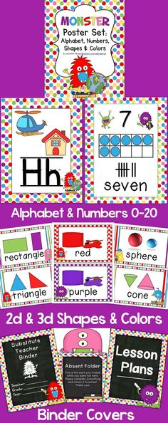 Monster Theme Classroom Poster Set: Includes alphabet, numbers 0-20, colors, 2d & 3d shapes, and binder covers!