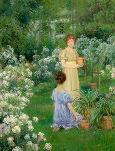 Francis Coates Jones, American Classical and Impressionist painter. I can't find the title of this one - drat! No matter - two friends in a garden - what more do you need?