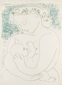 Drawing by Pablo Picasso, 1963, La maternité.
