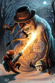 Creepy evil snowman #christmas #illustration