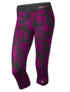 Gear Gone Wild: 10 Pairs of Printed Workout Pants: A pair of Nike Pro printed compression capris ($45) look like something out of a pop-art print. Top off the look with a matching bra ($35) to make an even louder statement!