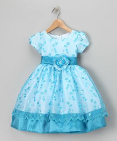 Kid Fashion Turquoise Flower Sequin Organza Dress - Infant, Toddler & Girls | zulily
