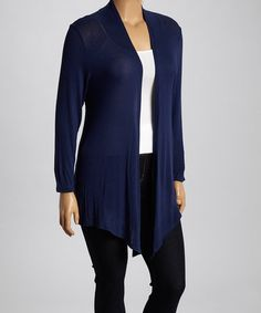Look what I found on #zulily! Navy Open Cardigan - Plus by Chris & Carol #zulilyfinds