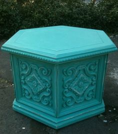 Vintage Aqua Hexagon Nightstand/Side Table   THE SECOND RVIVL
