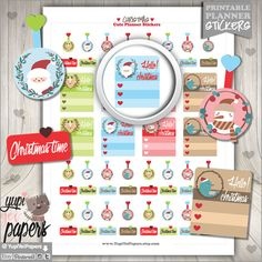 Christmas Stickers, Planner Stickers, Christmas Checklist, Flags Stickers…