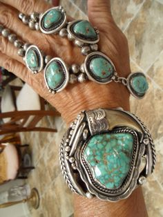 Gorgeous Carico Lake Turquoise Necklace and Cuff, Navajo, Old Pawn, High Grade Natural; pinned from https://www.etsy.com/shop/INDIANQUEEN?ref=listing-shop-header-item-count
