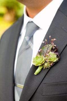 Green Succulent Boutonniere | Sweetwater Portraits by Julie Melton | TheKnot.com