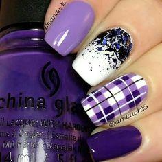 Purple gel nail - instead of plaid/checkered design I'd like just horizontal stripes