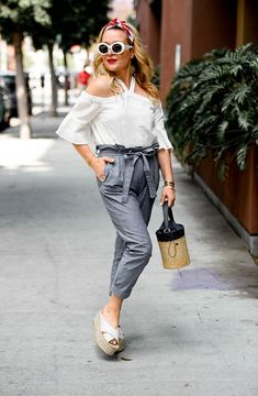 Paper Bag Waist Denim, Eyelet Top, summer style Seasonal Style, OOTD, fashion blogger, women's fashion, street style, outfit inspiration, outfit ideas, outfits, what to wear now, trends, OOTD Inspo, Best Street Style, Street Wear, Ladies Fashion, Spring Style, Blogger Style, Street Wear