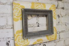 5x7 Distressed Wood Picture Frame Vintage White with Canary Bloom and Grey Trim