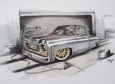 Hot Wheels - Damn this drawing has me feeling a nice static squarebody with a all round wheel combination would be a good garage partner for Chevy Stepside, C10 Chevy Truck, Peterbilt Trucks, Chevy Pickups, Cool Car Drawings, Badass Drawings, Chevy Tattoo, Carros Bmw, Bagged Trucks