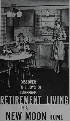 1960s CAMPER TRAILER Retirement MOTOR HOME NEW MOON Vintage Advertisement by Christian Montone, via Flickr