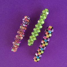 Hand Beaded WireWrapped Barrettes set of 3 in by AnnPedenJewelry, $10.99