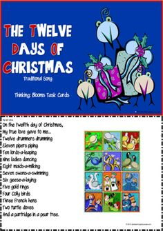 Christmas | The Twelve Days of Christmas | Blooms Thinking and Writing Ideas