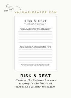 Risk & Rest :: A Challenge • Val Marie Paper
