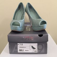"Mint Platform Suede Peep-toes 4.75"" platform peep-toes Apt. 9 Shoes Platforms"