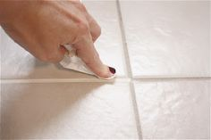 Step-by-step instructions for how to update your bathroom tile using grout paint. I've always wanted to do learn how to do this! Like teeth whitening for your bathroom floor- instant makeover.