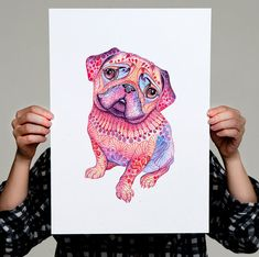 Pug dog mops high quality art print hot pink Pugberry by TevaKiwi
