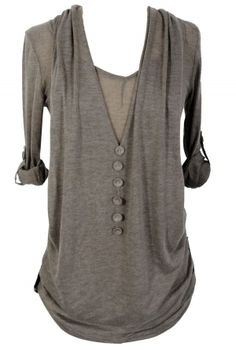 Comfy Layered Button Front Knit Tunic in Mocha