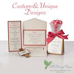 Choose from hundreds of wedding invitation design options or we will create something truly custom and one of a kind for you.  We can't wait to help make your wedding special!
