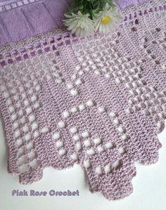 Olá! Mais um Barrado Rosa em Crochê Filê para Toalha de Lavabo, feito por mim! Sinto não ter o gráfico. Obrigada por visitar se...