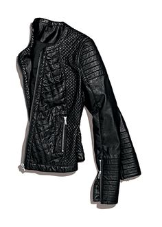 Unleash your inner biker in a quilted bomber with zipper detail