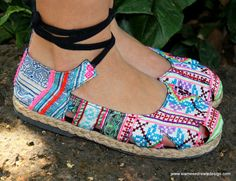 Ankle Wrap Espadrille Flat Womens Shoe Hmong by SiameseDreamDesign, $39.00